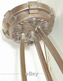 Lustre Suspension Bronze Argenté ART DÉCO signée MULLER LUNÉVILLE