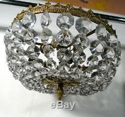 Lustre à pampilles cristal et bronze Art Déco Plafonnier ancien