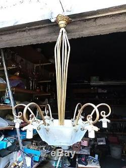 Lustre art deco Muller aux Paons vasque exagonale et 6 tulipes monture Bronze