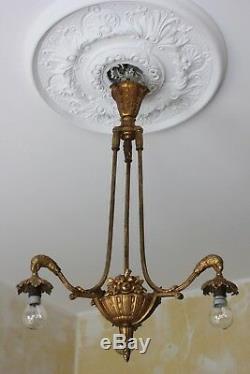 Lustre art déco bronze doré époque vers 1925 Papagei / Parrot Daum / Muller