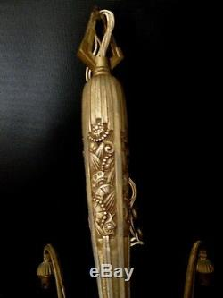 Lustre art deco en bronze Hettier Vincent Genet & Michon MULLER SCHNEIDER DEGUE