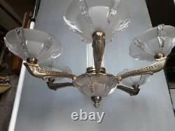 Lustre bronze et verre ep 1930 art deco dlg Petitot