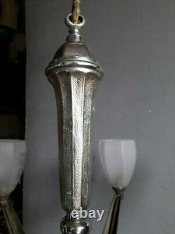 Lustre bronze nickelé ep 1930 art deco verre sablé