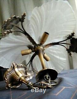 Lustre en pâte de verre coquille et bronze véritable style art déco