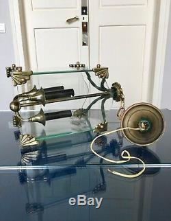 Lustre lanterne Art Déco lampe bronze verre vintage décoration suspension
