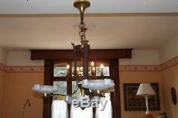 Lustre petitot bronze doré fer forgé verre opalescent art déco 1935