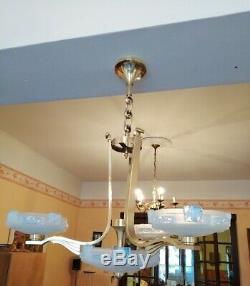 Lustre petitot bronze verre opalescent art déco 1935