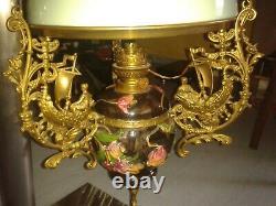 Lustre suspension bronze / opaline / barbotine Napoléon III avec contre poids