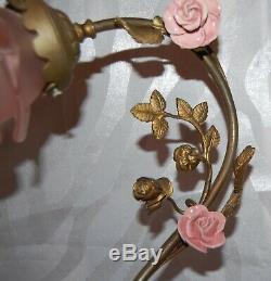 MAGNIFIQUE LAMPE EN BRONZE ANGE PATE DE VERRE, bronze angel lamp