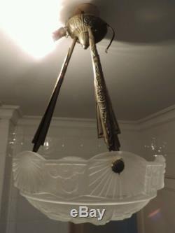 Muller Freres Luneville Art Deco Lustre Bronze Pate De Verre