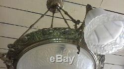 Magnifique lustre Art Déco GILLES Verre et Armature Bronze Nickelé