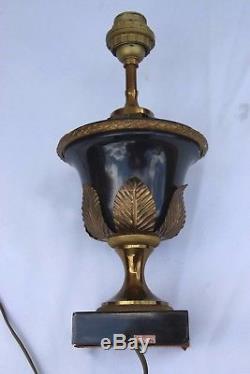 Maison Bagues Paris Ancienne Lampe En Laiton Bronze Palme Sculptée Signée