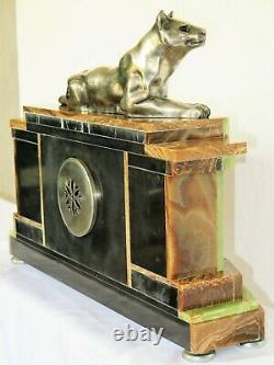 Majestueuse pendule marbre Art Deco panthère bronze french clock
