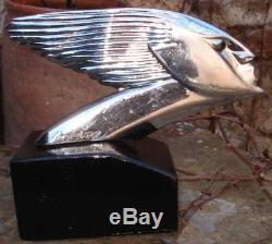 Mascotte 1925-1930 Automobile Bronze Chromé Bouchon de Radiateur Art Deco
