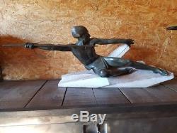 Max Le Verrier Art Déco Ancien Rare Sculpture Grande Statue Années 20 30 Bronze