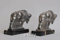 Max Le Verrier serre-livres bisons époque Art Déco, signés