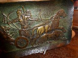 Max le Verrier bronze plateau bas relief à lantique chasse aux lions