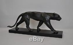 Max le Verrier, panther in bronze signed, XXth period art déco