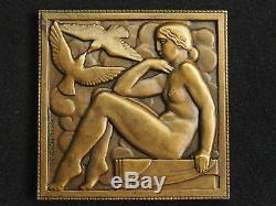 Medaille Art Deco Bronze Marcel Renard Femme Et Colombes French Art Deco Medal