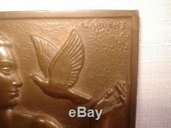 Médaille Plaquette BRONZE Art Déco de L. GIBERT Nu Féminin
