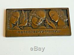 Medaille Plaquette Bronze Le Secret Du Bonheur Jean Vernon Art Deco 1930/36