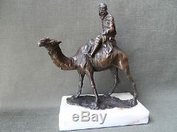 Mehariste Soldat Statue Bronze Dore L. Carven Deco Orient Desert Chameau Sculptur