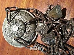 Monture de lustre, suspension, en bronze nickelé d'époque Art Déco 1930