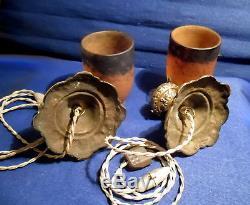 Muller Frères Paire De Veilleuses Plafonnier En Bronze Et Tulipes Pte De Verre