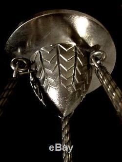 Muller Freres Suspension Art Déco Aux Hippocampes Bronze Nickelé & Verre Pressé