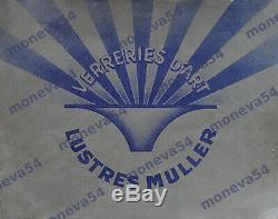 Muller Freres Suspension Art Déco En Bronze Nickelé & Obus En Verre Pressé 1930