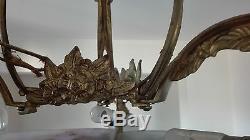 Muller rare Lustre art deco bronze, plaques, tulipes, obus, pate de verre couleur