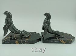 Otarie marbre et bronze argenté serre livre Frecourt vintage