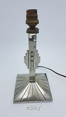 PIED DE LAMPE ART DECO MODERNISTE BRONZE NICKELE TULIPE VERRE dlg MULLER DEGUE