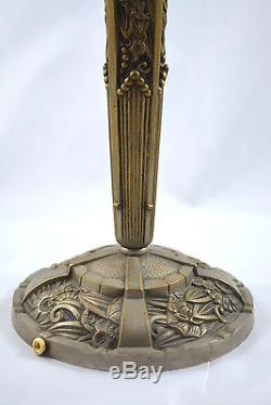 Pied De Lampe Bronze Argente 1930 Art Deco Pour Pate De Verre Daum Galle Muller