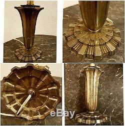 Pied De Lampe En Bronze Argenté Art-déco 1930 Daum Galle