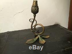 PIED LAMPE en BRONZE ART DÉCO NOUVEAU marronnier (pour lampe Gallé)