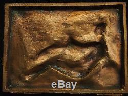 PLAQUE BRONZE ART DECO René GARDILLE (1889 1938) LEDA ET LE CYGNE 12cm / 9cm