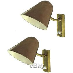 Pair of Copper and Bronze Sconces in the Style of Carl-Axel Acking, Paire appliq