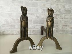 Paire De Chenets En Bronze Art Deco 1930 Signes Anton Prinner Modele Chaman