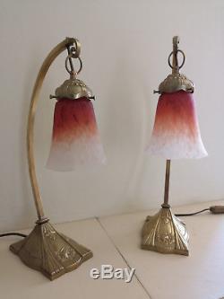 Paire De Lampe Art Deco En Bronze C. Ranc. Tulipe En Pate De Verre Schneider