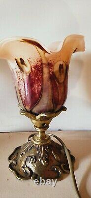 Paire Lampe Bronze tulipe P. Lucas. Verre signé Marais no Daum Gallé Art déco