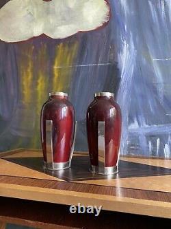 Paire Vases Sevres Art Deco / Paul Millet / Porcelaine Bronze Argenté TBE 19cm