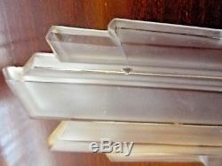 Paire appliques ART DECO-Bronze + 4 plaques verre moulé st sabino, muller, daum