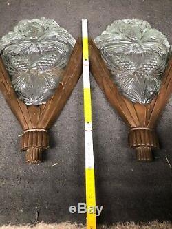 Paire d'appliques art deco Bronze XXL No Sabino Verre Starlighting Signé