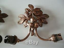 Paire d appliques bronze Art Nouveau Art Deco aux fruit de la passions