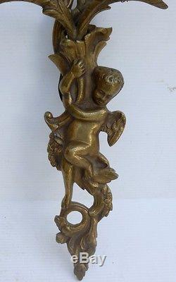 Paire de Grandes APPLIQUES Anciennes en Bronze Décor Angelots Putti c. 1950
