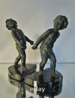 Paire de Serre-livres Art Déco 2 enfants chérubins régule patine bronze Bookends
