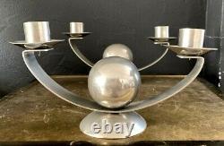 Paire de bougeoirs moderniste art deco-bronze nickelé-style bauhaus, desny, adnet