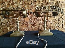 Paire de lampe de table art deco art nouveau antique banker lamp table lamp