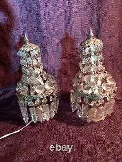 Paire de lampe girandoles à pampilles montgolfière monture en bronze argenté